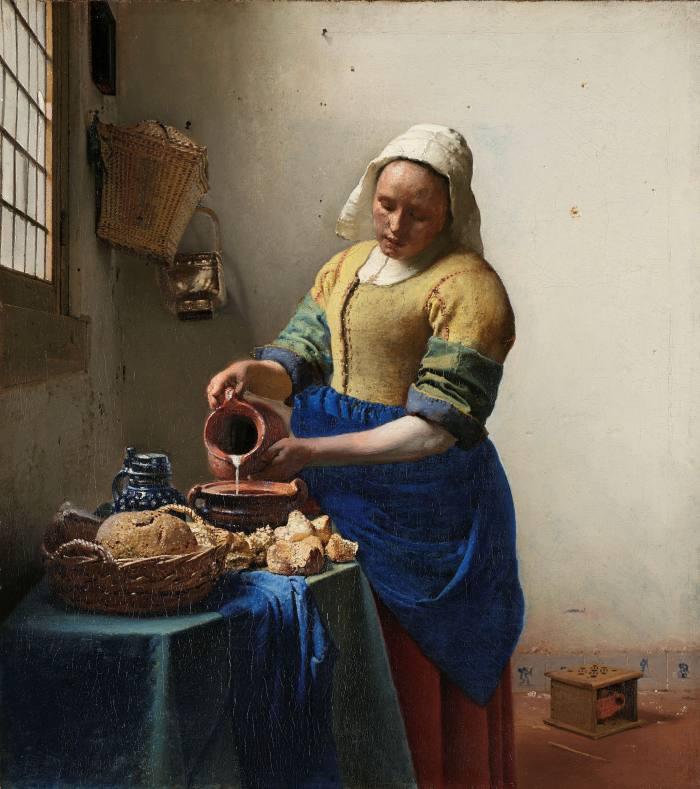 The Milkmaid, c1660, by Johannes Vermeer. On display at the Rijksmuseum, Amsterdam