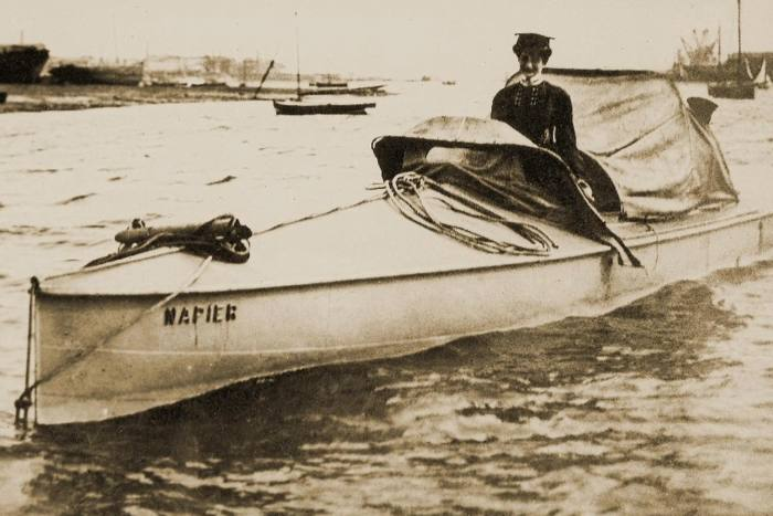 Dorothy Levitt, the world's first water-speed record holder, in 1903