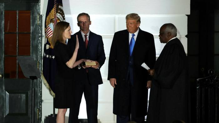 Amy Coney Barrett is sworn in this October as a justice of the Supreme Court