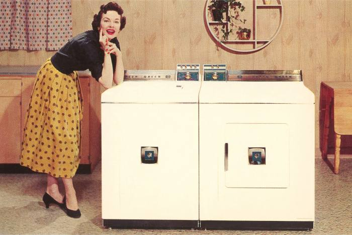 A new model freestanding washer and dryer in the 1950s