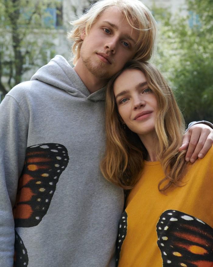 Lucas wears Fashion Baby cotton hoodie, Natalia wears Fashion Baby cotton T-shirt, both POA