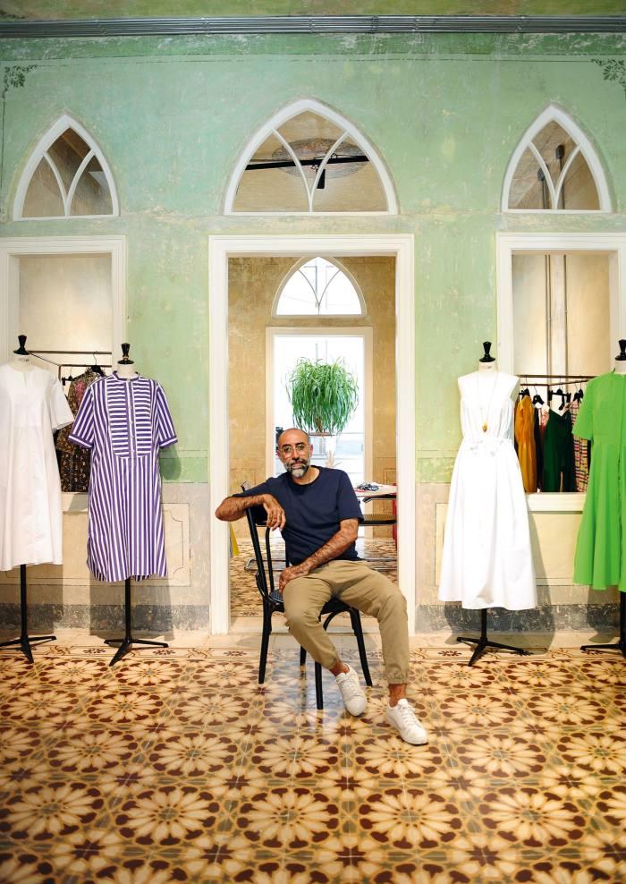Lebanese fashion designer Rabih Kayrouz with his latest collection