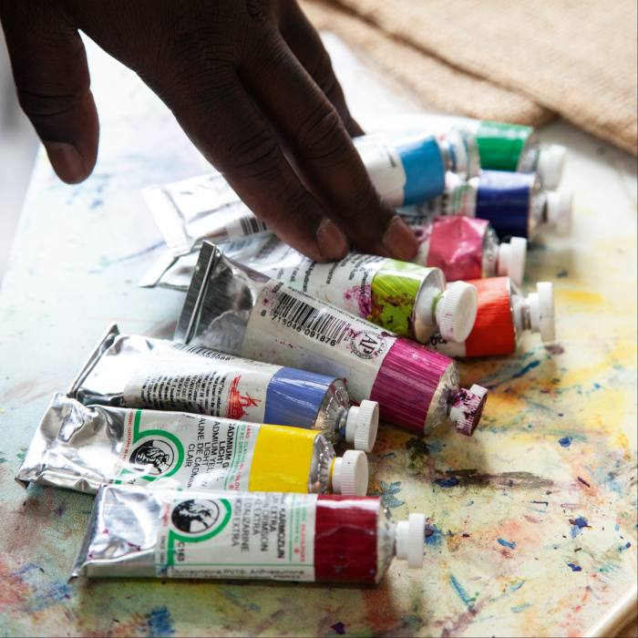 Some of his oil paints
