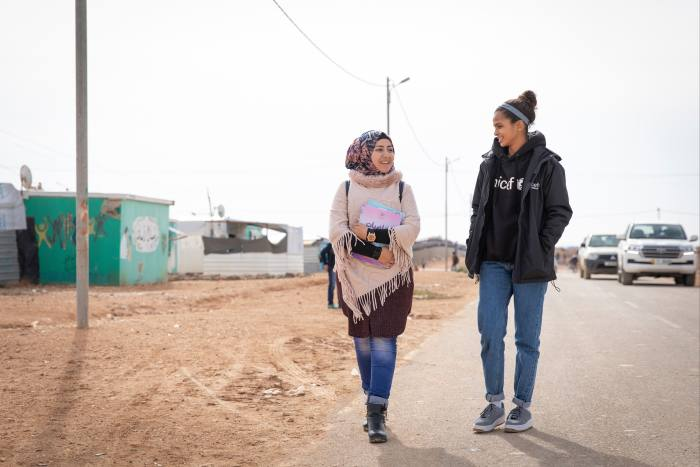 Ali with 18-year-old Omaima at Za'atari refugee camp in Jordan last year, as part of her work with Unicef