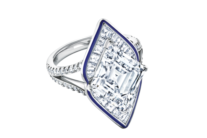 Boodles platinum, enamel and diamond Paris ring, POA