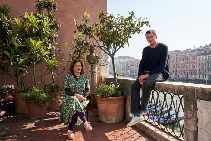 Marcantonio Brandolini d'Adda and Jane da Mosto on her terrace overlooking the Grand Canal