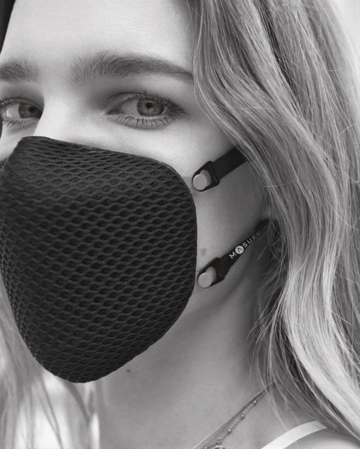 Wearing aMasuku mask, £49, launched by Vodianova and her business partner Timon Afinsky