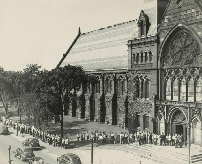 Veterans queue to register for spring semester courses at Harvard's Memorial Hall in 1946