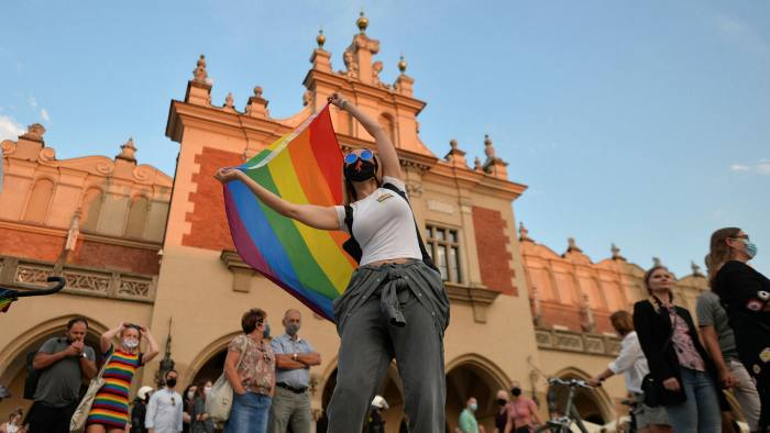 Pro-LGBT activists and their supporters during the annual Krakow Equality March 2020