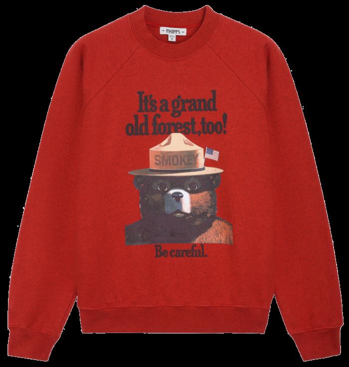 Phipps Smokey sweatshirt, €345. 10% of sales to USDA Forest Service