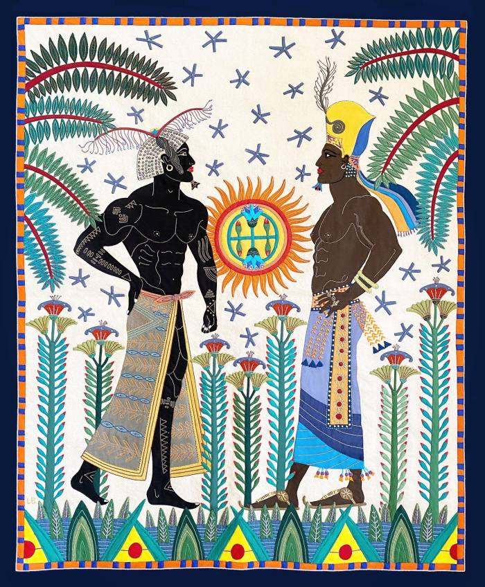 'Nubian Bromance', one of Barthélemy's tapestries – the pieces feature in private collections around the world