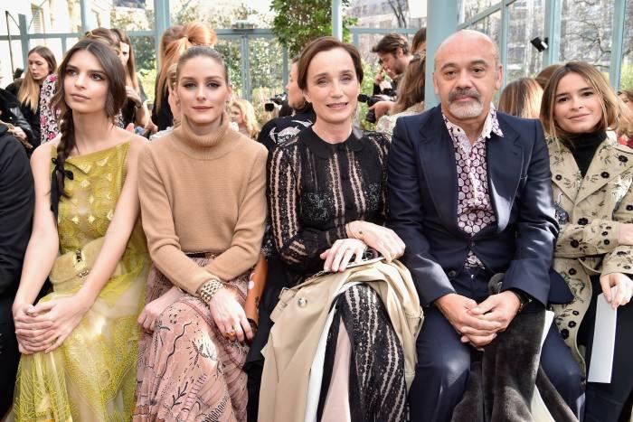 Louboutin with, from left, Emily Ratajkowski, Olivia Palermo, Kristin Scott Thomas and Miroslava Duma at Paris Fashion Week, 2017