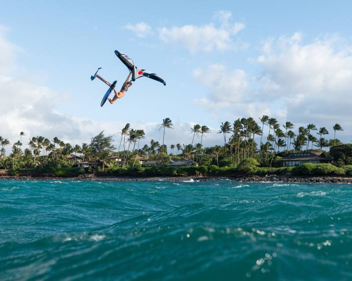 Champion water athlete AnnieReickertwing-foilingoff Maui, Hawaii