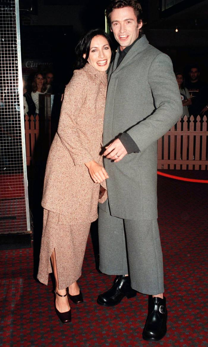Jackman at the premiere of his first film, Paperback Hero, with co-star Claudia Karvan, 1999