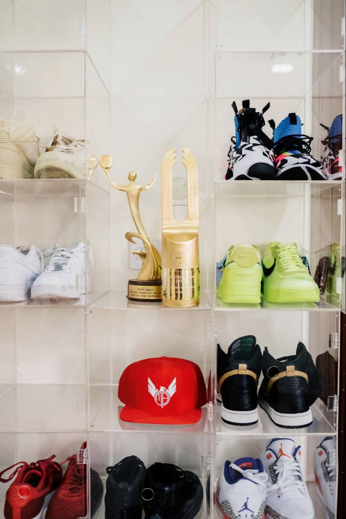 Some of Barshim's collection of sneakers