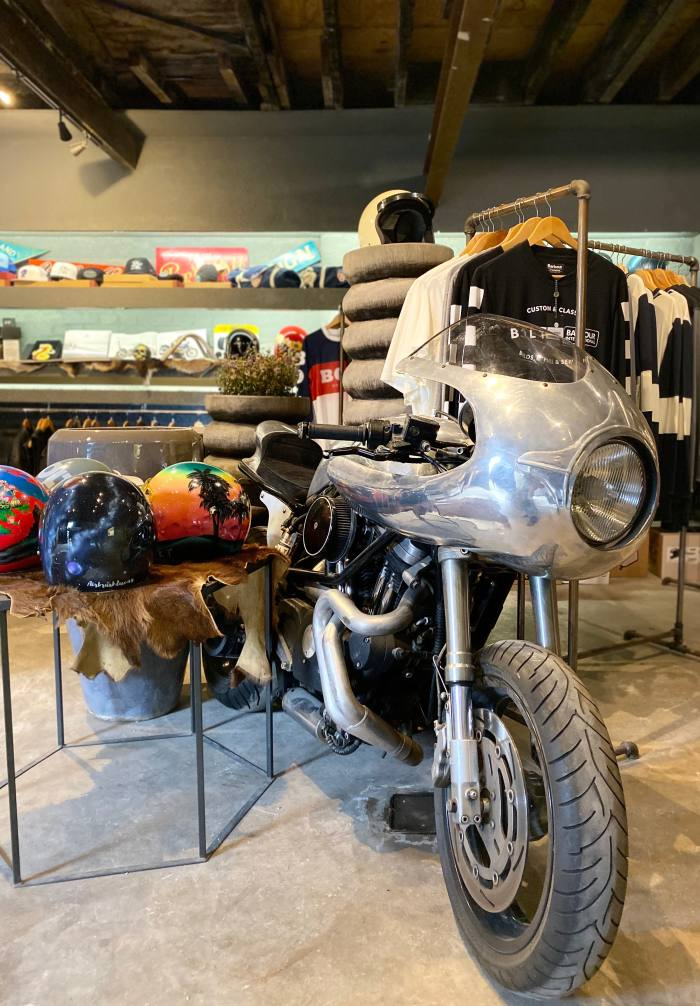 A custom 1999 Buell X1 motorbike is the centrepiece of the store