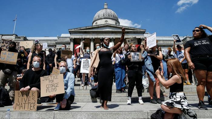 A Black Lives Matter march at Trafalgar Square, London, in May 2020 to protest the death of George Floyd in Minneapolis earlier that month