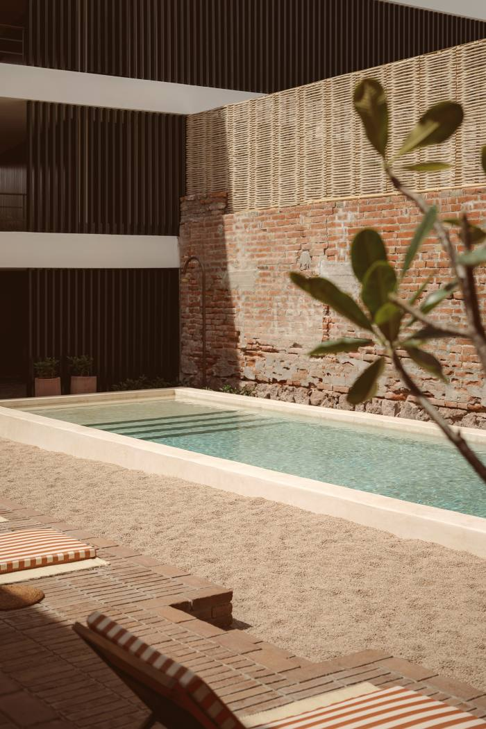 The swimming pool in the courtyard