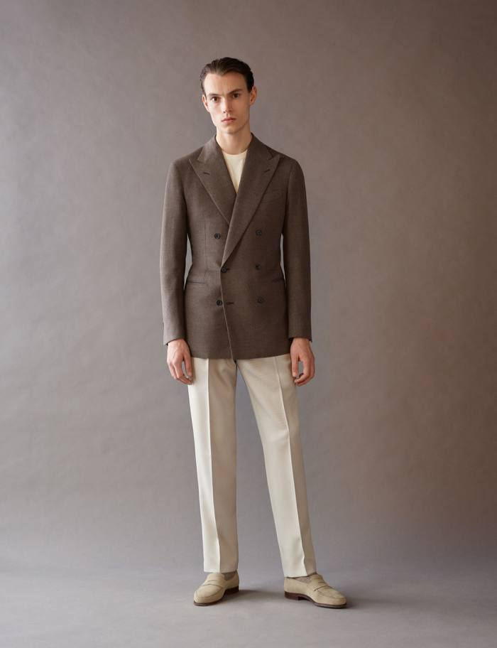 Atelier Saman Amel wool/cashmere jacket, €2,300, and wool trousers, €550
