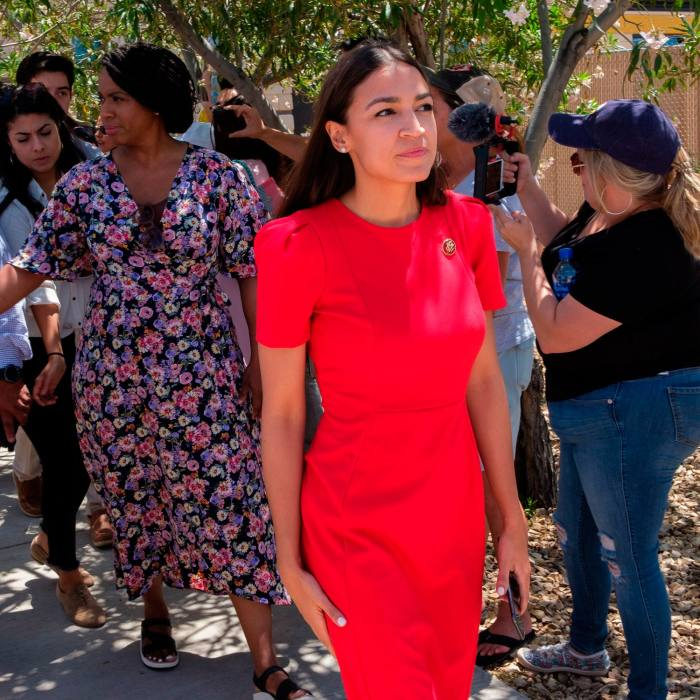 """At a tour of the Clint border patrol facility and detention centre in Texas: @AOC """"They confiscated my phone, and they were all armed. I'm 5ft4in."""" July 1 2019"""