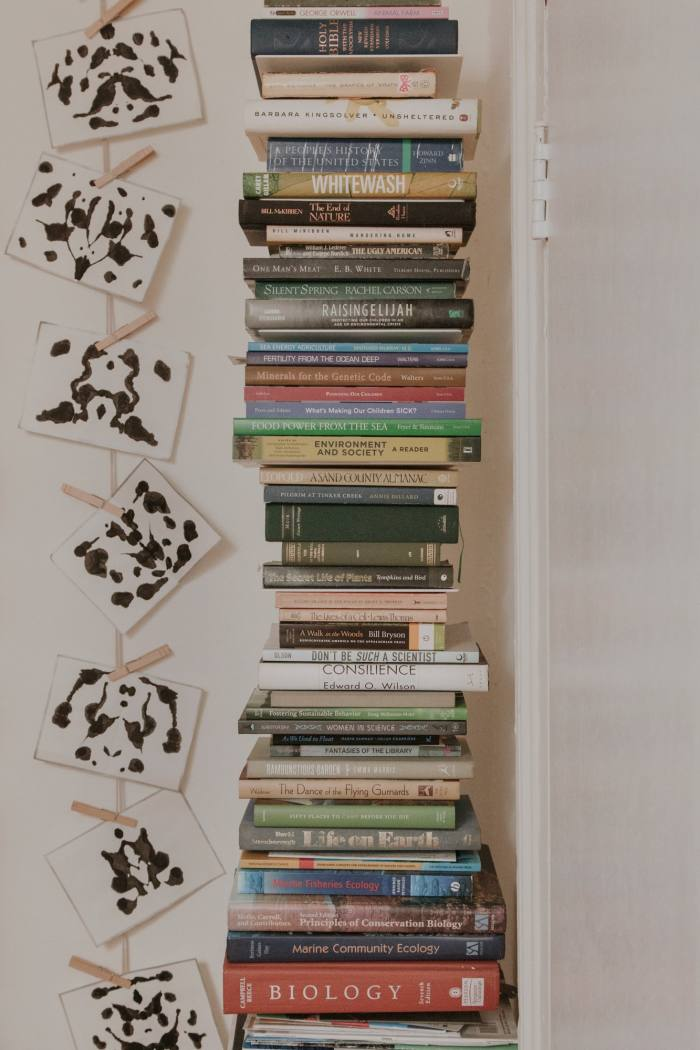 Her own handmade ink-blot cards beside a pile of books