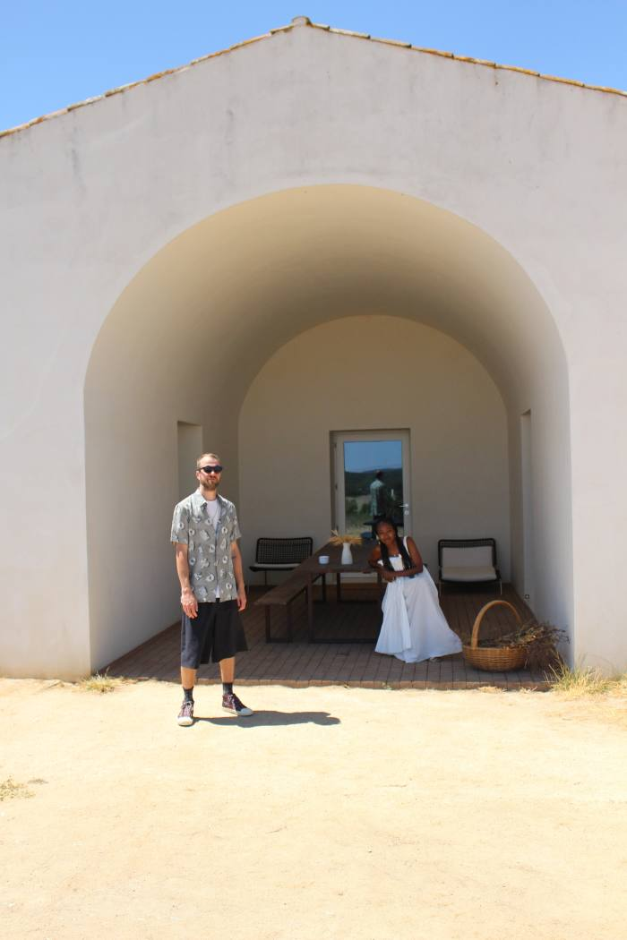 The author and her husband, James Goodhead, in the cove at Casa no Tempo