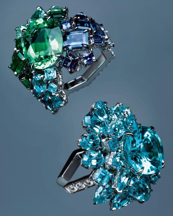 From top: Gem Dior by Dior Joaillerie Vert Tilleul Paraíba tourmaline ring and Bleu Cyan Paraíba tourmaline ring, both POA