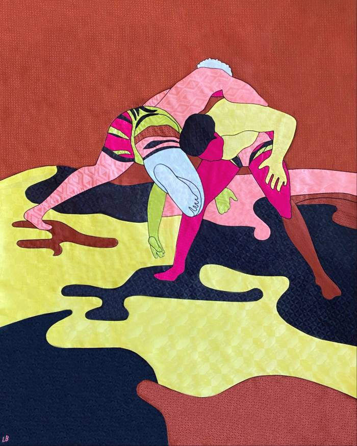 """A piece from Barthélemy's """"Wrestlers"""" series, inspired by wrestlers the artist met in Dakar, Senegal – the artworks can be seen at Dakar's IFAN Museum this autumn"""