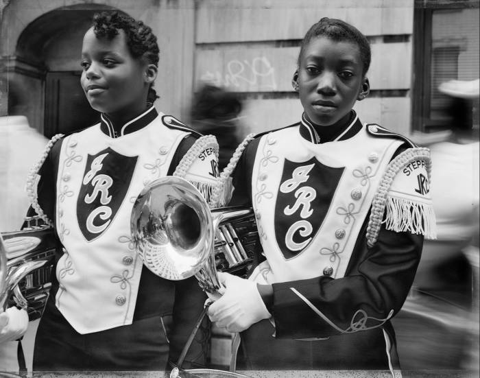 Two Girls from a Marching Band, 1990, by Dawoud Bey, from Street Portraits