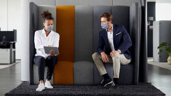 Many firms are reconfiguring office layouts to enable social distancing