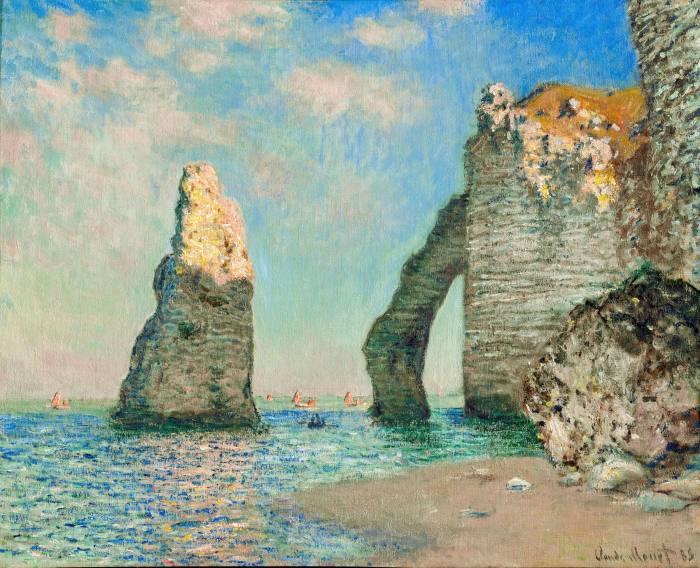 The artist's 'The Cliffs at Étretat' (1885) features the famous Aiguille rock formation