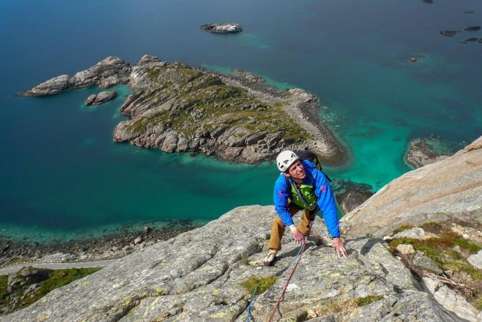 Alan James climbing Presten in Norway's Lofoten islands