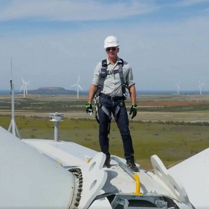 CEO Jeff Bezos on top of a wind turbine at the 253MW Amazon Wind Farm Texas. The tech group was the largest corporate clean energy dealmaker in the US last year