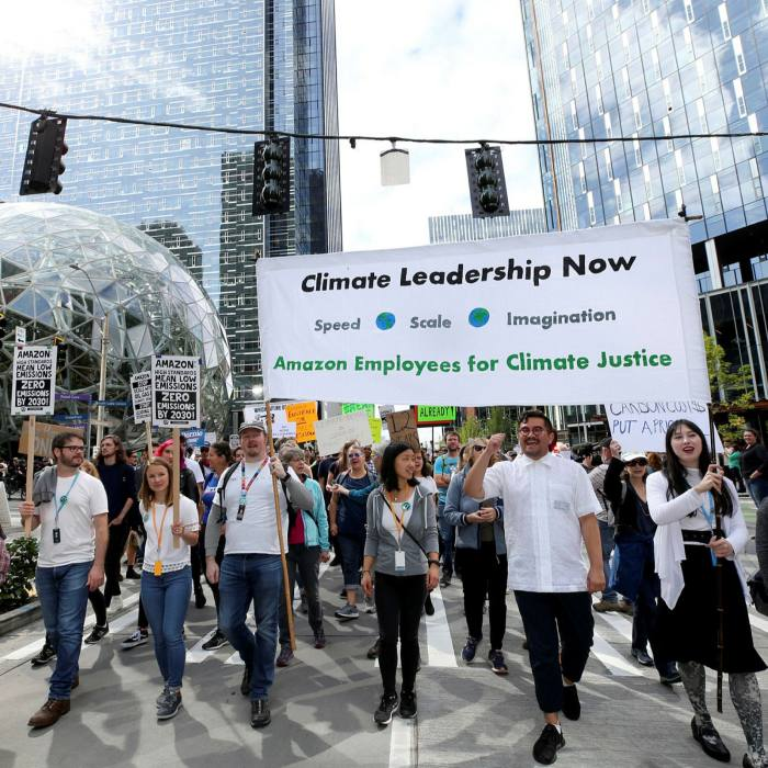Hundreds of workers from Google, Amazon and Microsoft stage a climate walkout in Seattle in September 2019