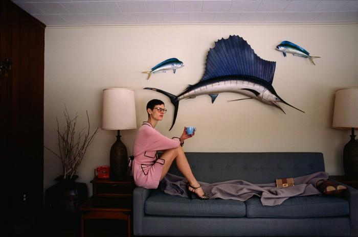 Chanel cashmere dress, £5,105,and velour sandals, £910.Moscot acetate Miltzenglasses, £265. Fendi oakand leather MiniBaguette Trunk clutch,£3,650