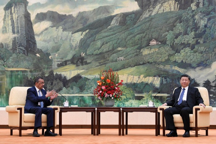 WHO director-general Tedros Adhanom Ghebreyesus meeting Chinese president Xi Jinping on January 28 in Beijing. Mr Tedros praised 'the seriousness with which China is taking this outbreak'.