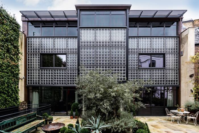 A mid-section of patterned glass blocks at Eglon House, London, on sale at £20m with Aston Chase and The Modern House