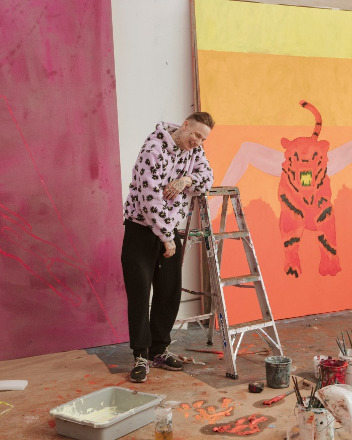 Florian Krewer in his studio in the Bronx, New York. His works are in progress and as yet untitled