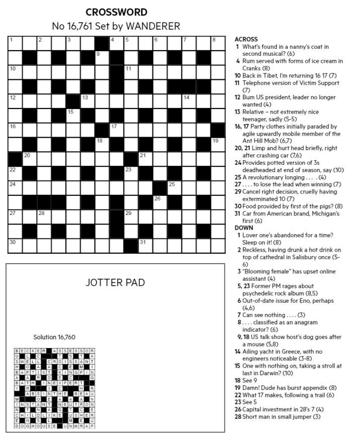 FT Crossword: Number 16,761