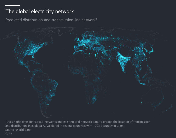 The global electricity network. Map showing predicted distribution and transmission line network. Uses night-time lights, road networks and existing grid network data to predict the location of transmission and distribution lines globally. Validated in several countries with ~70% accuracy at 1 km