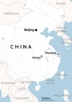 China, Wuhan locator map