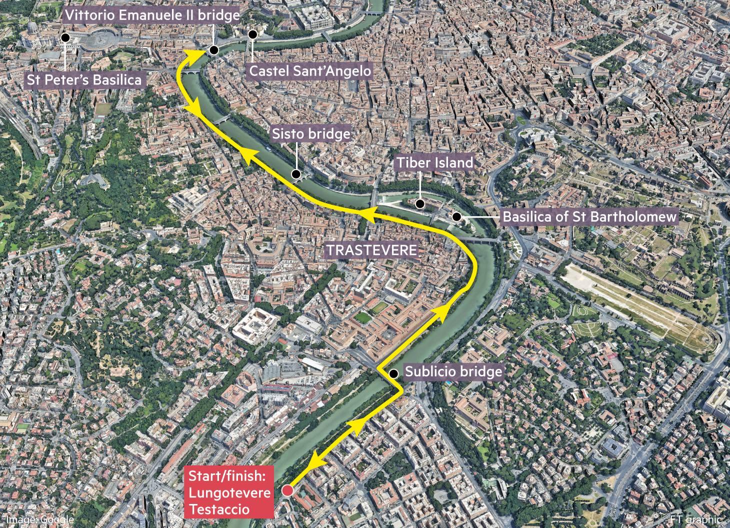 Globetrotter running map of Lungotevere and Trastevere, Rome