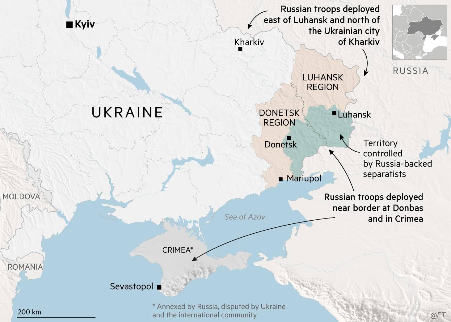 Ukraine map showing Russian troops forces near the Ukrainian border