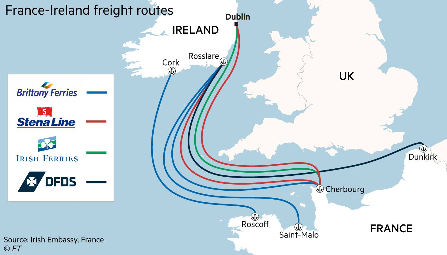 France-Ireland freight routes map
