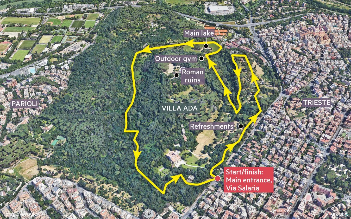 Globetrotter running map of Villa Ada in Rome