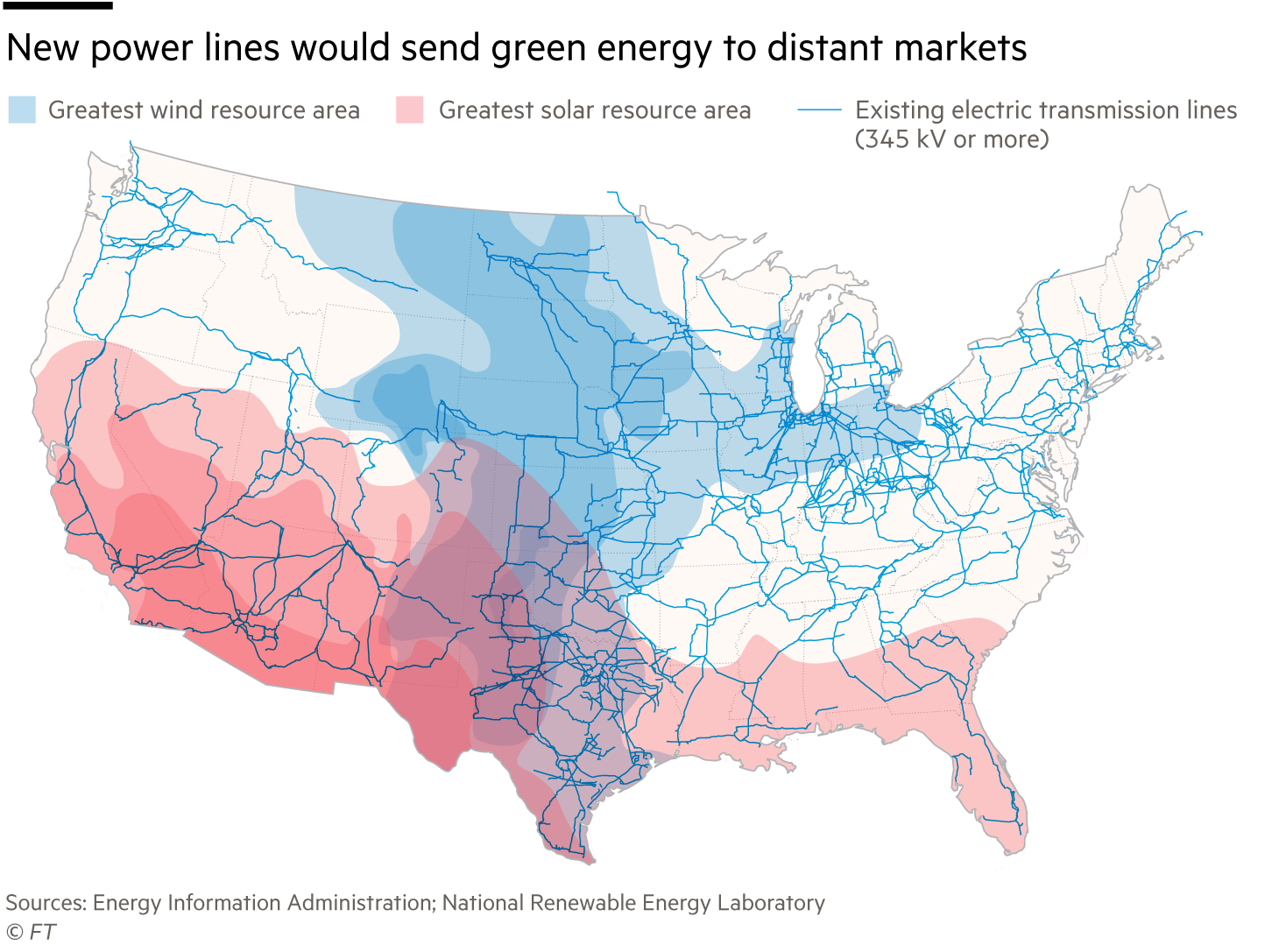 New power lines would send green energy to distant markets, greatest wind resource area, greatest solar resource area, existing electric transmission lines (345 kV or more)